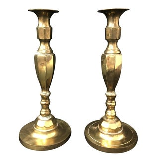 English 19th-Century Brass Candlesticks - A Pair