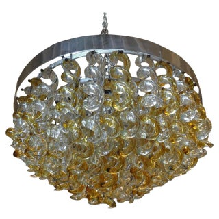 1960s Vintage Murano Glass Chandelier by Mazzega For Sale