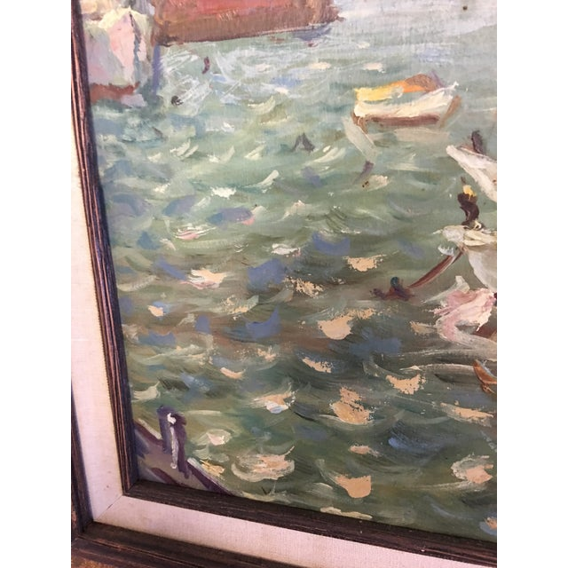 Turquoise Ivan Denysenko Harbor Painting For Sale - Image 8 of 9
