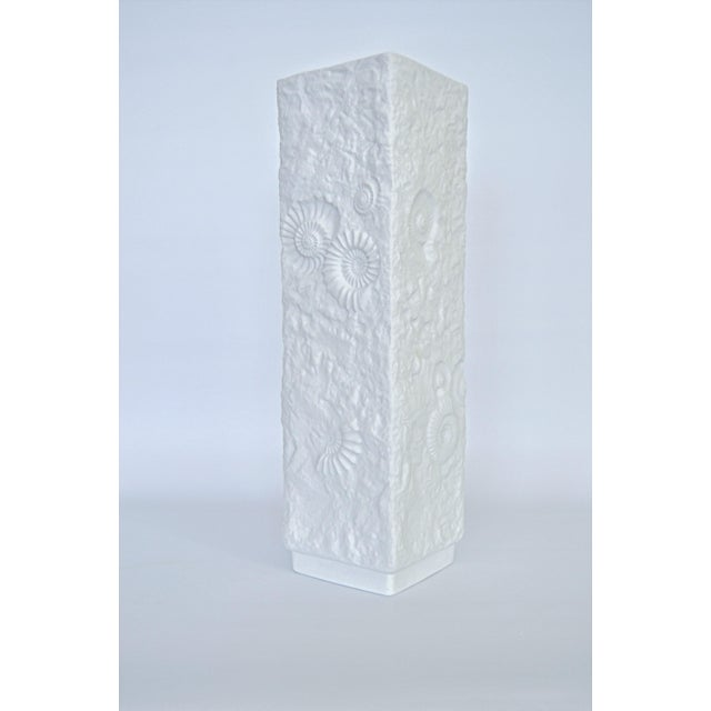 Offering a bright white vintage Mid Century Modern bisque porcelain tall vase designed by AK Kaiser,Germany, circa...
