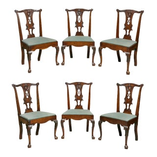 George II Walnut Dining Chairs - Set of 6 For Sale