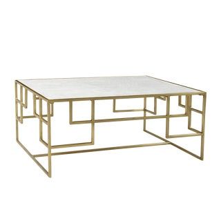 Empire Marble & Brass Coffee Table For Sale