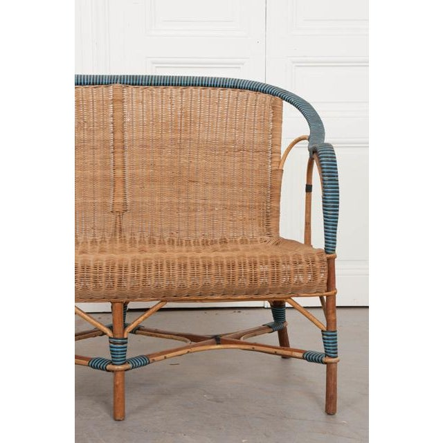 Caning Vintage French Woven-Rattan Settee For Sale - Image 7 of 11