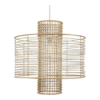 Contemporary Modern Rattan Ceiling Light For Sale