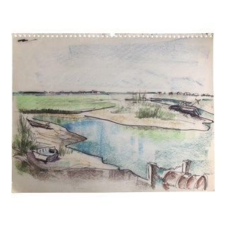 Mid-Century Pawley's Island Sc Lowcountry Marsh Scene, 1966 For Sale