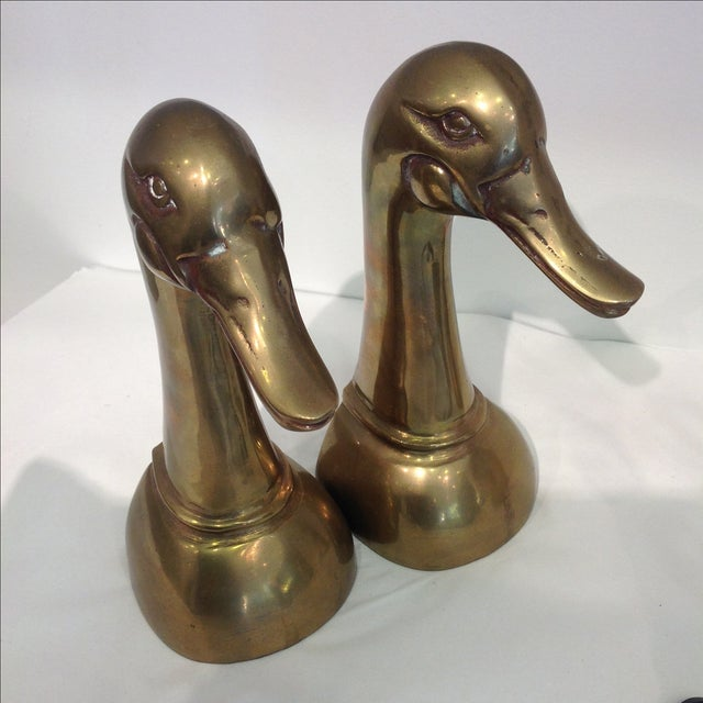 Tall Brass Duck Bookends - A Pair - Image 4 of 6