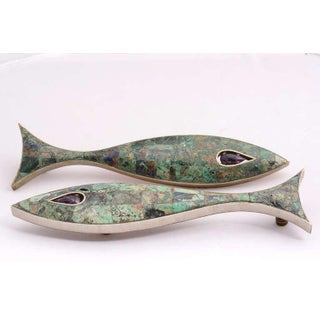 Pair of Modernist Amethyst & Azurite Fish Drawer Handle by Los Castillo Preview