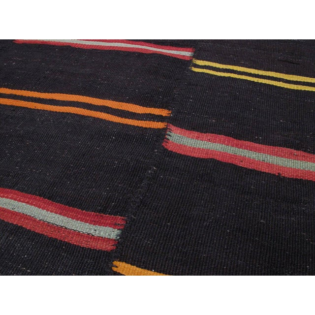 1950s Large Kilim with Bright Stripes For Sale - Image 5 of 9