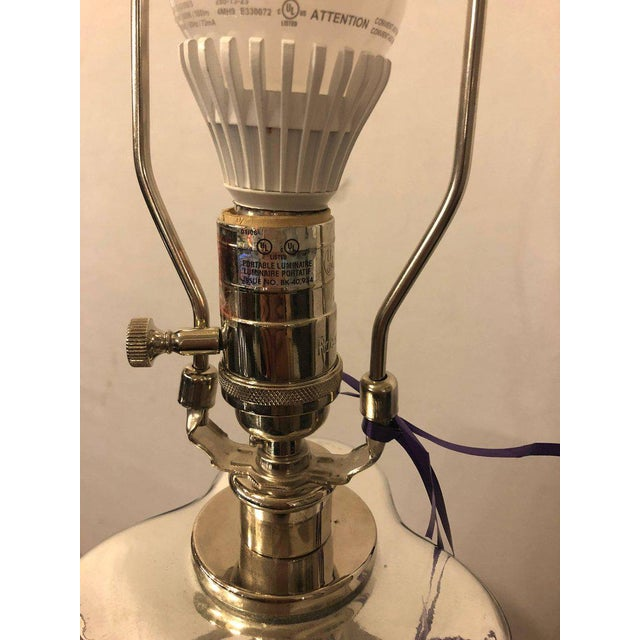 Silver Mercury Glass Lamp Signed Robert Abbey For Sale - Image 8 of 9