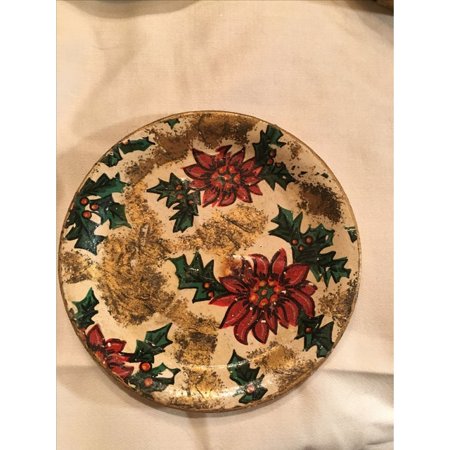 Vintage Christmas Poinsettia Paper Mache Coasters in Box For Sale - Image 4 of 7