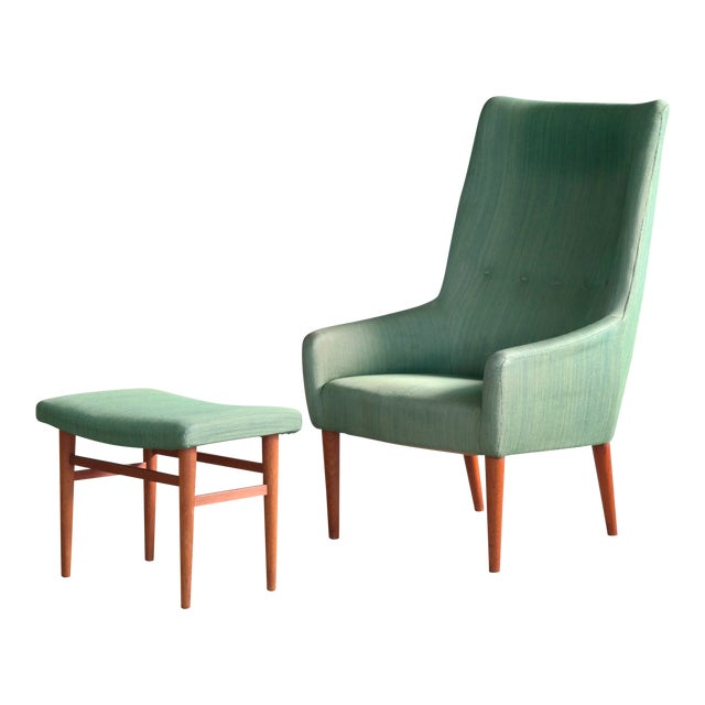 Danish 1950's Green Easy Chair With Footstool by Jacob Kjaer For Sale