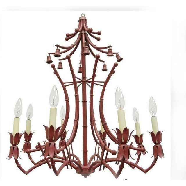 1940s Red Italian Faux Bamboo Chinese Chippendale Tole Metal Pagoda Chandelier For Sale - Image 11 of 11