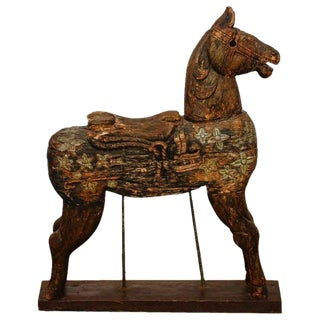 19th Century Wooden Polychrome Carved Mounted Temple Horse For Sale