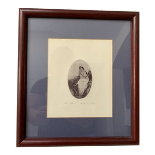 Framed Oval Etching Seated Couple Kissing Etching For Sale