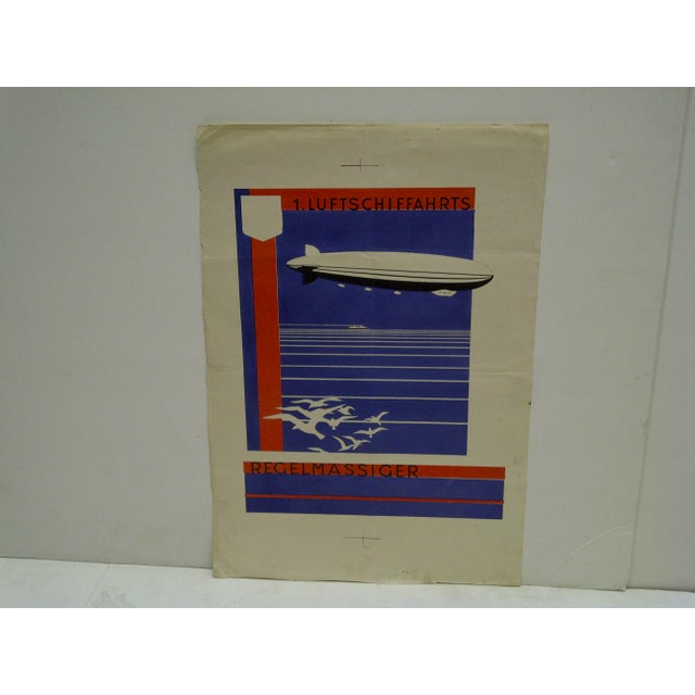 "This is an Original Artists Proof For A Poster -- ""First Zeppelin Non-Stop Flight"" -- Circa 1920 -- ""Luftschiffahrts..."