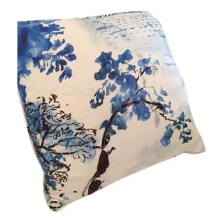 Jade Temple Linen Toile Pillow For Sale