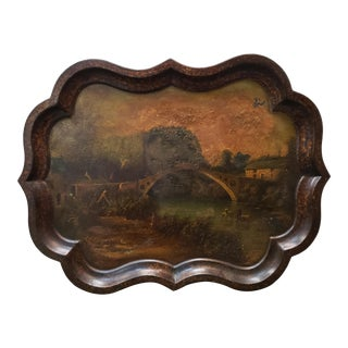 Mid 19th Century French Landscape Bridge Over River Scene Hand Painted Tole Tray For Sale