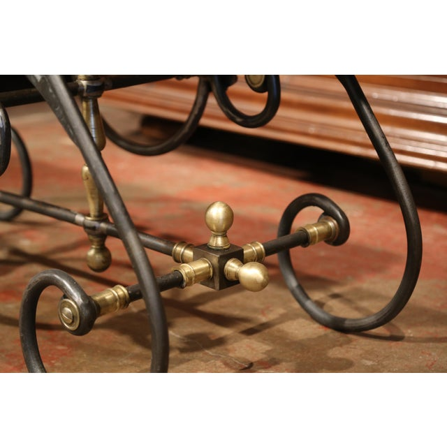 Gold Polished Iron Butcher Pastry Table With Marble Top and Brass Finials From France For Sale - Image 8 of 11