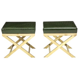 1970s Vintage Italian Brass X Benches- A Pair For Sale