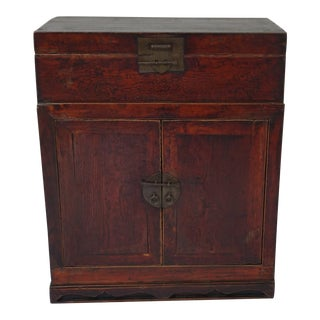 Antique Chinese Camphor Wood Cabinet Nightstand For Sale
