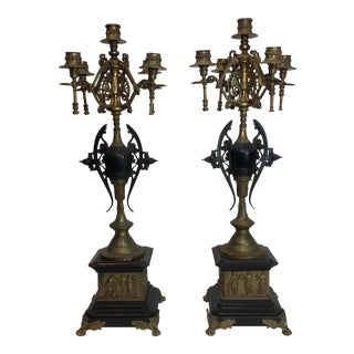 French Gilt Bronze & Marble Candelabra - a Pair