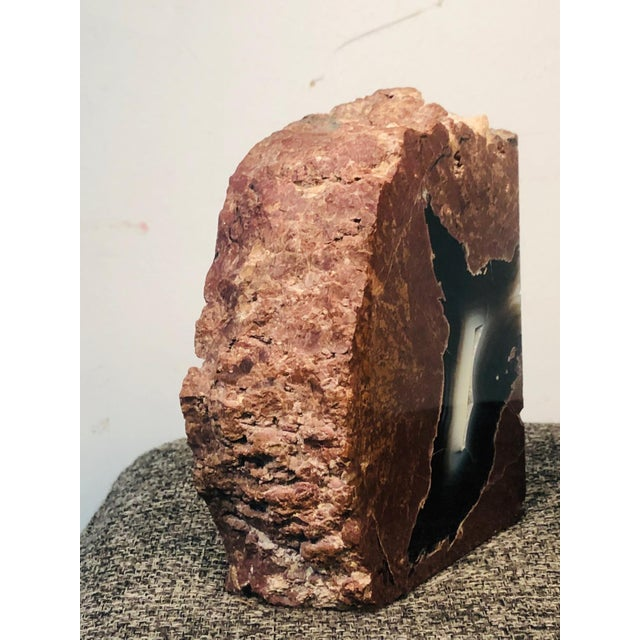 Wood Mid 20th Century Petrified Wood Geode Book Ends - a Pair For Sale - Image 7 of 8