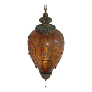Vintage Moroccan Amber Crackle Glass Swag Pendant Lamp For Sale