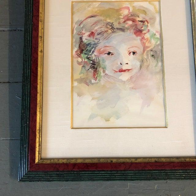 Vintage Original Watercolor Portrait Young Girl For Sale - Image 4 of 6