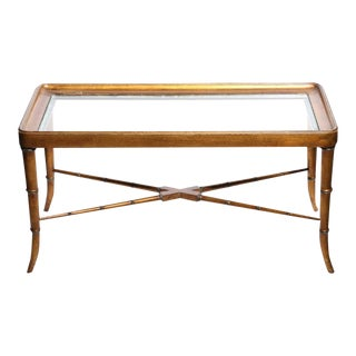 1950s Mid-Century Bamboo Coffee Table For Sale