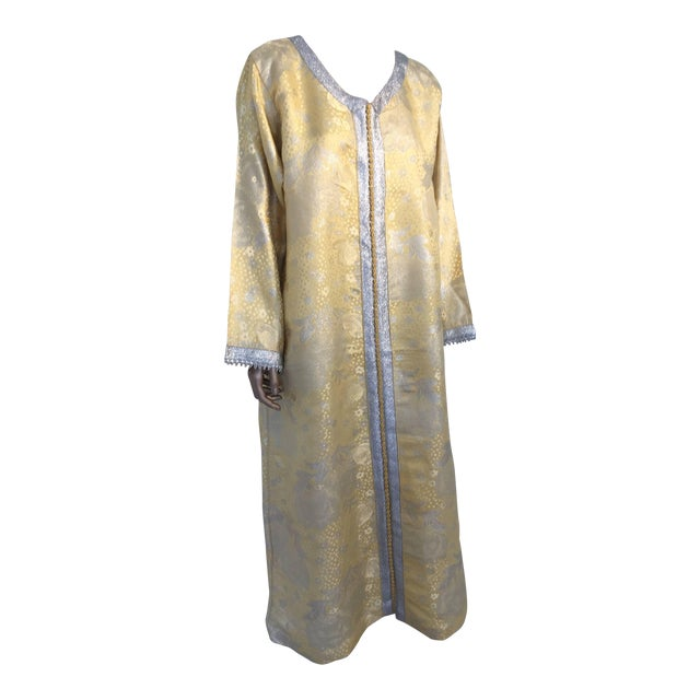 Metallic Gold and Silver Brocade 1970s Maxi Dress Caftan, Evening Gown Kaftan For Sale