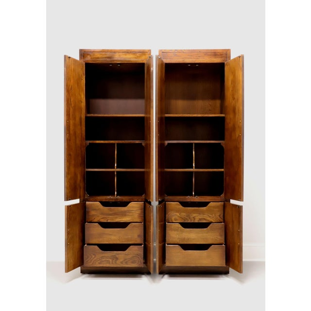 Henredon Scene One Campaign Style Armoire Cabinets - Pair For Sale In Charlotte - Image 6 of 13