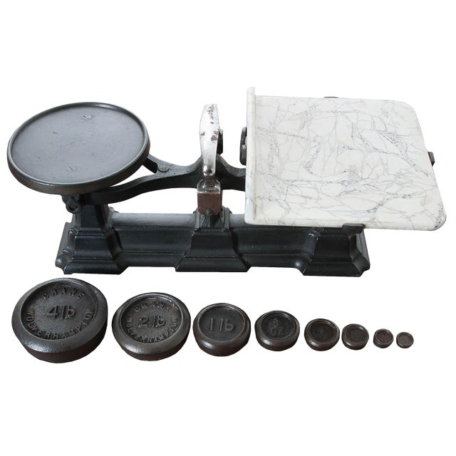English Victorian Cast Iron Scale & Weights - 9 Pc. Set For Sale