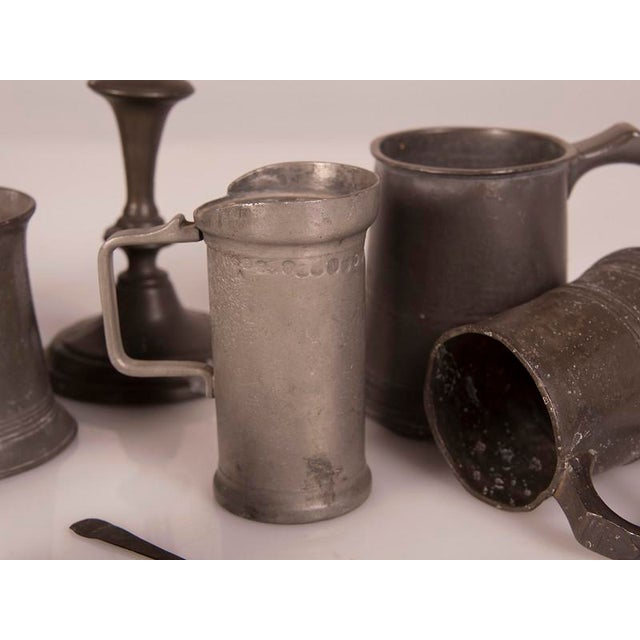 Metal English Pewter Pieces with Maker Stamps Circa 1850 - Set of 11 For Sale - Image 7 of 11