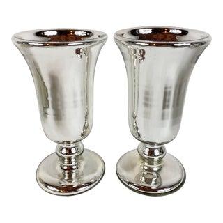 Antique Victorian Mercury Glass Vases - a Pair For Sale