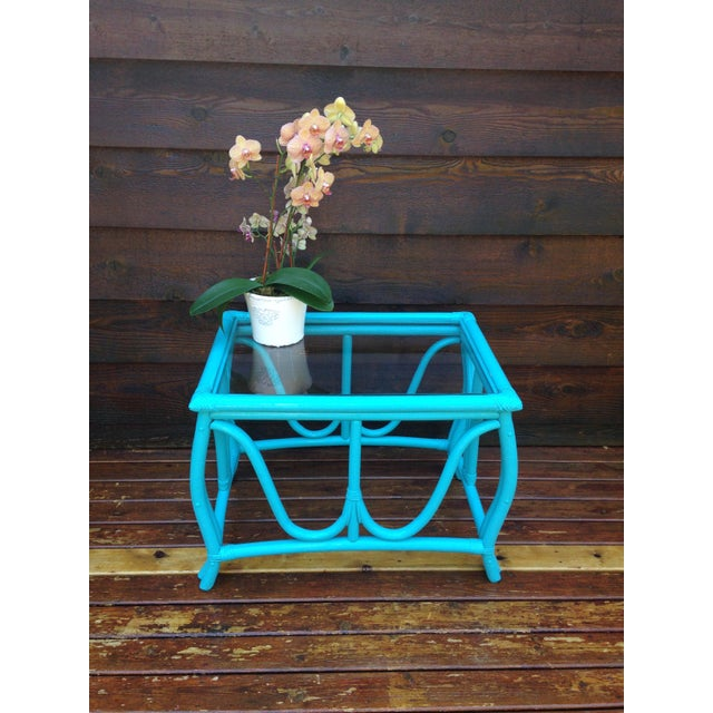 Blue Vintage Rattan Table - Image 6 of 7