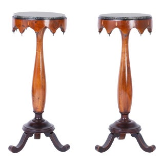 Antique Italian Marble Top Pedestals - A Pair For Sale