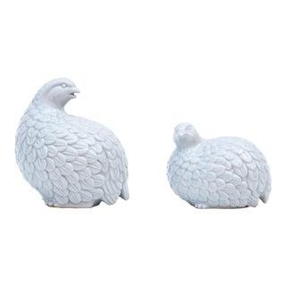 Kutani Gray Porcelain Quail - a Pair For Sale
