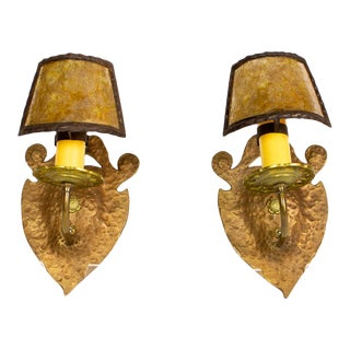 Pair of Hammered Copper and Brass Arts and Crafts Sconces With Mica Shades For Sale