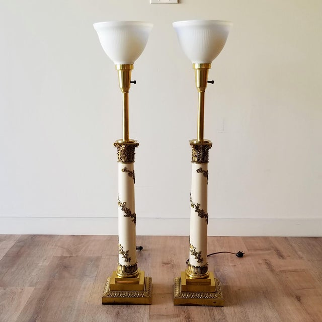 1960s Stiffel Neoclassical Brass and Ivory Table Lamps - a Pair For Sale - Image 13 of 13