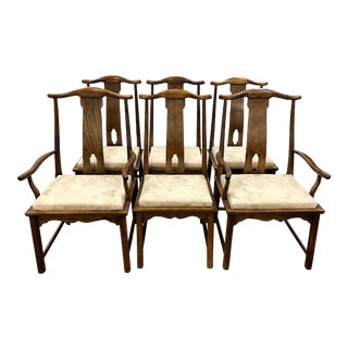 1970s Vintage Century Asian Style Dining Chairs- Set of 6 For Sale