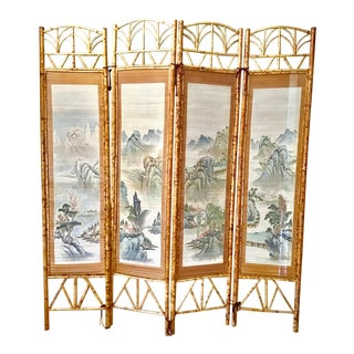 Chinese Landscape Panels Framed in English Aesthetic Movement Bamboo Screen For Sale