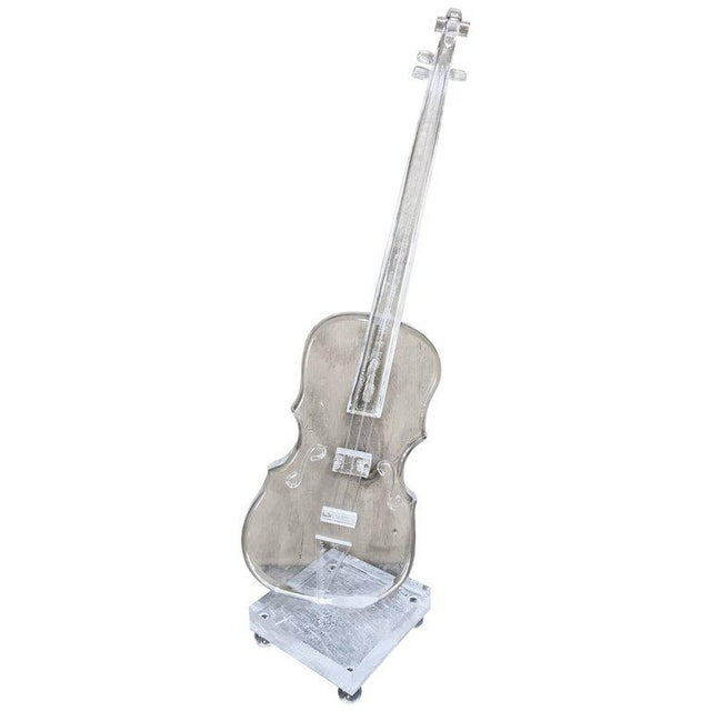 Acrylic Sculpture of a Violin, in the Style Armand For Sale - Image 11 of 11