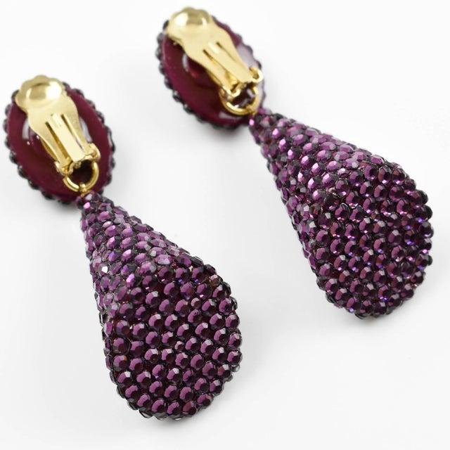 Richard Kerr Dangle Clip on Earrings Amethyst Purple Rhinestones Paved For Sale - Image 4 of 7