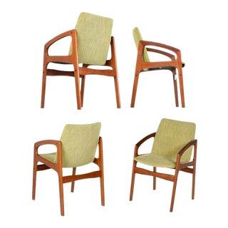Solid Teak Danish Modern Kai Kristiansen Style Arm Chairs W/ New Green Fabric For Sale