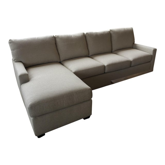 Transitional Almond Upholstered 2-Pc. Sectional For Sale
