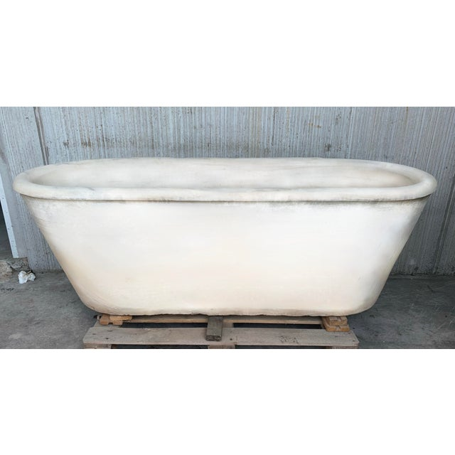 19th Masterpiece Carrara Marble Oval Bathtub For Sale In Miami - Image 6 of 10