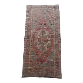 Distressed Low Pile Small Rug Turkish Hand Knotted Bath Mat Yastik Rug 1′8″ × 3′4″ For Sale