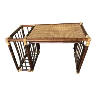 1960s Mid-Century Modern Asian Rattan Bed Food or Work Tray