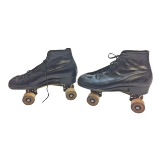 Vintage Weathered Black Leather Hyde Roller Skates