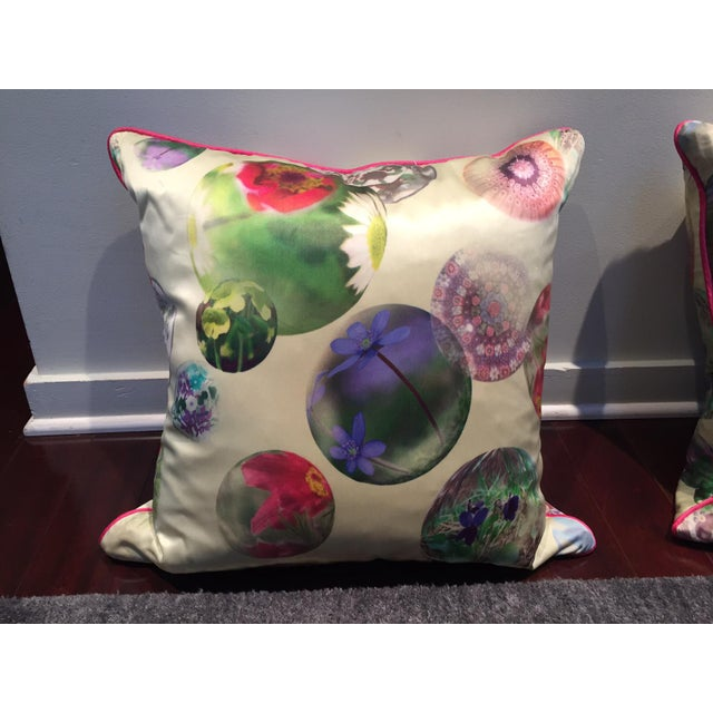 Asian Contemporary Silk Printed Pillows - A Pair For Sale - Image 3 of 5